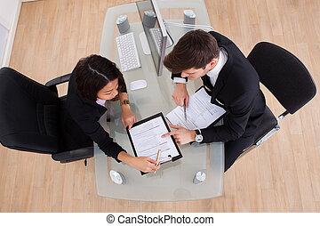handlowe koledzy, w, spotkanie