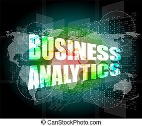 handlowe pojęcie, ekran, analytics, cyfrowy, dotyk, ...
