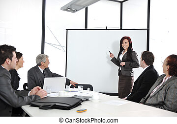 handlowe spotkanie, -, grupa ludzi, w, biuro, na,...