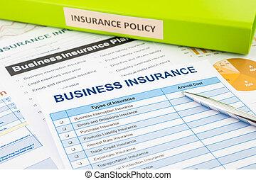 handlowe ubezpieczenie, planowanie, dla, ryzyko, kierownictwo