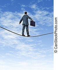 handlowiec, chodząc tightrope