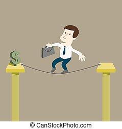 handlowiec, do ryzyka, dla, pieniądze