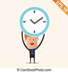 handlowiec, dzierżawa, zegar, -, wektor, ilustracja, -,...