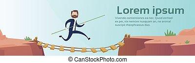 handlowiec, iść, niebezpieczny, górska droga, sznur most, ryzyko, pojęcie