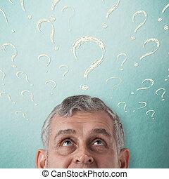 handlowiec, myślenie, do, twórczy, idea