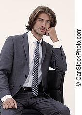 handlowiec, myślenie, nosić, elegancki, dostosujcie i wiążą