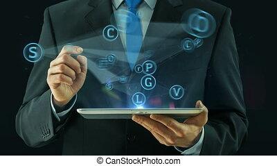 handlowiec, spoinowanie, na, towarzyski, media, sieć, pojęcie, tabliczka, droga