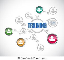 handlowiec, trening, sieć, diagram, wzór