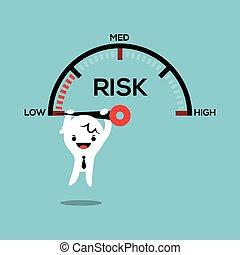 handlowiec, wisząc dalejże, igła, szybkość, miara, ryzyko, kierownictwo, konceptualny, ilustracja
