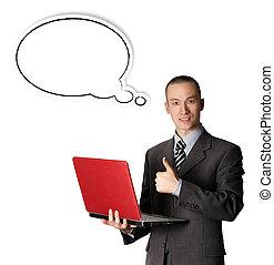 handlowiec, z, czerwony, laptop, ian, domyślana bańka