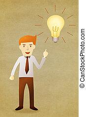 handlowiec, z, idea, lightbulb
