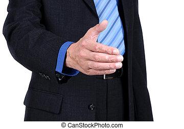 handlowiec, z, na, otwarta ręka, gotowy, do, znak, niejaki, transakcja