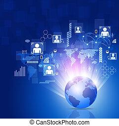 handlowy, świat, sieć, tło