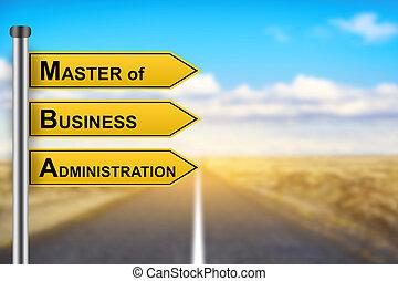 handlowy, administracja, mba, żółty znak, pan, słówko, albo,...