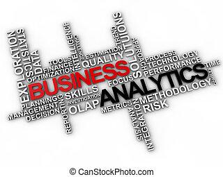 handlowy, analytics, słowo, chmura, na, białe tło