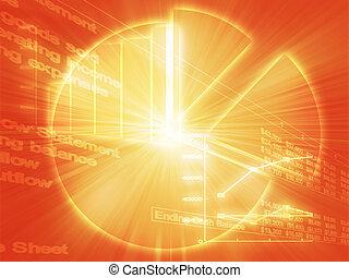 handlowy, arkusz kalkulacyjny, ilustracja, wykresy