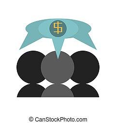handlowy, bańka mowy, avatar, dolar
