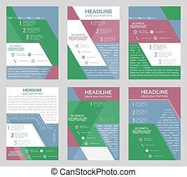 handlowy, banner., lotnik, brochure., zbiorowy, template.