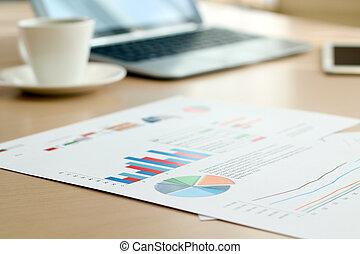 handlowy, barwny, handel, wykresy, roczny, wykresy, praca badawcza, tło, zameldować