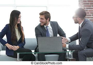 handlowy, biuro., praca, trzy, planowanie, drużyna