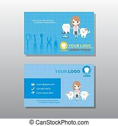 handlowy, dentysta, rysunek, karta