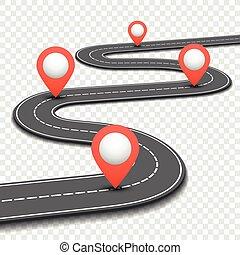 handlowy, droga, wóz, roadmap, wektor, ulica, szablon,...