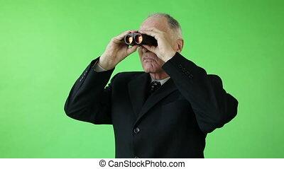 handlowy, ekran, zmartwiony, lorneta, zielony, senior, kaukaski, człowiek