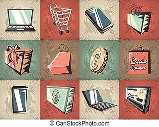 handlowy, etykiety, retro tytułują
