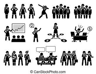 handlowy, figury, pictogram., profesjonalny, albo, kobieta interesu, wtykać, dama
