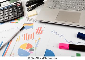handlowy, finansowy, dane, analityk, miejsce pracy
