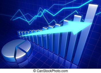 handlowy, finansowy wzrost, pojęcie