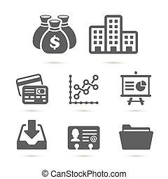 handlowy finansują, ikony, odizolowany, na, white., wektor