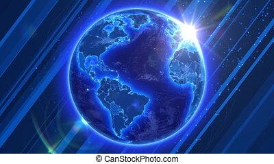 handlowy, globalny, earth., przędzenie