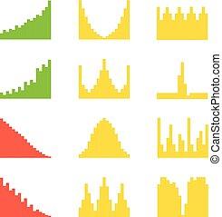 handlowy, graficzny, wykresy, clipart