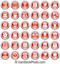 handlowy, i, biurowe ikony, komplet
