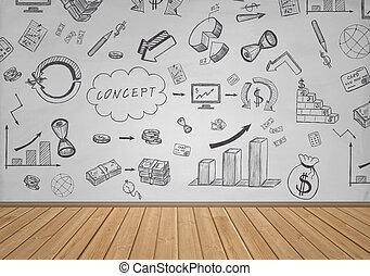 handlowy, i, finansowy, doodles, na, przedimek określony przed rzeczownikami, biała ściana