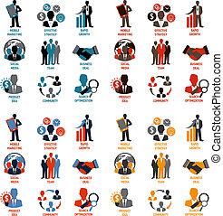 handlowy, i, kierownictwo, ikony