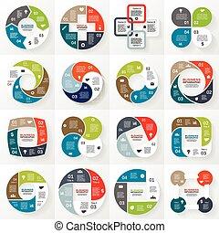 handlowy, infographic, diagram, 4, koło, opcje