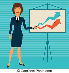 handlowy, infographic., młody, ilustracja, dama, pokaz