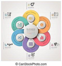 handlowy, infographic, z, tkactwo, krzywa, koło, krok, diagram