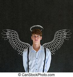 handlowy, inwestor, anioł, aureola, człowiek