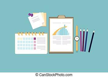 handlowy, kąt, nad, prospekt, biuro, miejsce pracy, biurko, górny