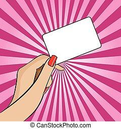 handlowy, kobietki, ilustracja, wręczać dzierżawę, karta