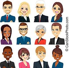 handlowy, komplet, avatar, zbiór, ludzie