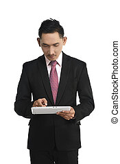 handlowy komputer, dzierżawa, tabliczka, człowiek