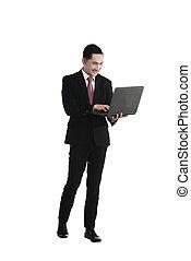 handlowy, laptop, asian, dzierżawa, człowiek