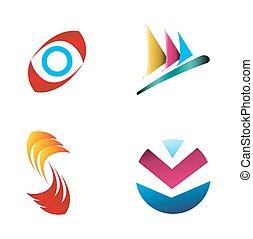 handlowy, logo, komplet, graficzny zamiar