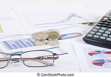 handlowy, ludzie., wykresy, miejsce pracy, stół., wykresy