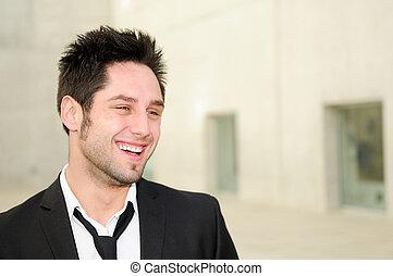 handlowy, młody, portret, uśmiechnięty człowiek, przystojny