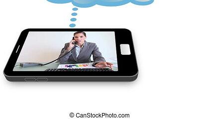 handlowy, magnetowidy, na, niejaki, smartphone